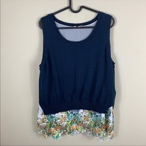 Anthropologie moth navy lace sweater tank